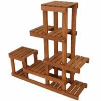 Sunnydaze Meranti Wood Multi-Tiered Indoor/Outdoor Plant Stand - Teak Oil Finish