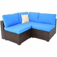 Sunnydaze Rosslare Corner Sectional Patio Sofa - Brown Rattan and Blue Cushions