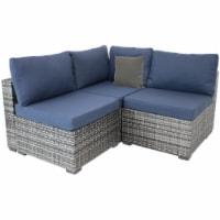 Sunnydaze Rosslare Corner Sectional Patio Sofa - Gray Rattan and Navy Cushions