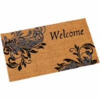 Sunnydaze 17-Inch x 29-Inch PVC and Coir Doormat - Blue Leaf Scroll - 1 unit(s)