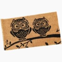"""Sunnydaze 17"""" x 29"""" PVC and Coir Indoor/Outdoor Doormat - Black/Tan Owl - 1 unit(s)"""