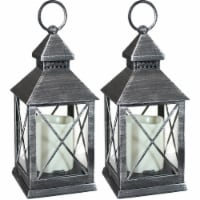 Sunnydaze Yorktown Indoor LED Candle Lantern - Set of 2 - 10-Inch