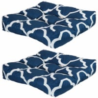Sunnydaze Set of 2 Tufted Outdoor Seat Cushions - Navy Blue and White Quatrefoil