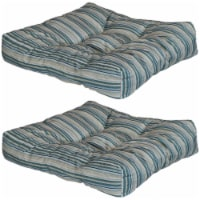 Sunnydaze Set of 2 Tufted Outdoor Seat Cushions - Neutral Stripes