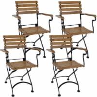 Sunnydaze Essential European Chestnut Wooden Folding Bistro Armchair - Set of 4 - 2 unit(s)