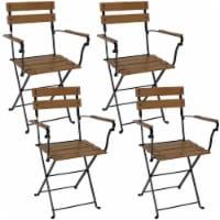 Sunnydaze Basic European Chestnut Wooden Folding Bistro Armchair - Set of 4