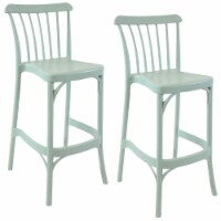 Sunnydaze Woodway Indoor Outdoor Plastic Barstool Chair -Nile Green - 2 Stools