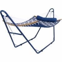 Sunnydaze Curved Spreader Bar Hammock with Blue Steel Stand - Gray Blue Octagon