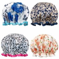 Wrapables Stylish Double Layer Waterproof Shower Caps (Set of 4), Majestic Floral - 4 Pieces