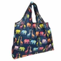 Wrapables Large Nylon Reusable Shopping Bag, Elephants & Giraffes - 1