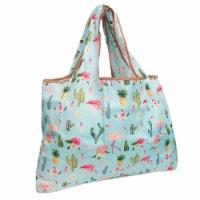 Wrapables Large Nylon Reusable Shopping Bag, Flamingoes & Cacti - 1