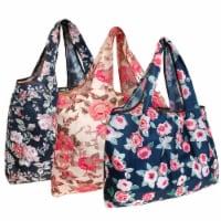 Wrapables Large Nylon Reusable Shopping Bags (Set of 3), Rose Garden - 3 Pieces