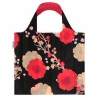 Wrapables Large Reusable Shopping Tote Bag with Outer Pouch, Midnight Floral - 1