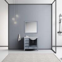 "36"" Dark Grey Single Vanity, White Marble Top, White Square Sink & 34"" Mirror - Right Version - 1"