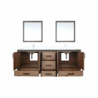 """80"""" Rustic Barnwood Double Vanity, Marble Top, White Square Sink & 30"""" Mirrors w/ Faucet - 1"""