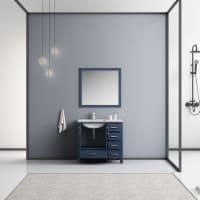 "36"" Navy Blue Single Vanity, MarbleTop, White Sink & 34"" Mirror w/ Faucet - Left Version - 1"
