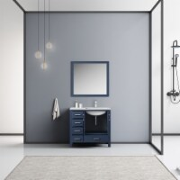 """36"""" Navy Blue Single Vanity, MarbleTop, White Sink & 34"""" Mirror w/ Faucet - Right Version - 1"""