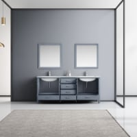 """80"""" Dark Grey Double Vanity, White Marble Top, White Square Sinks & 30"""" Mirrors w/ Faucets - 1"""