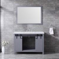 "48"" Dark Grey Single Vanity, White Marble Top, White Square Sink & 44"" Mirror w/ Faucet - 1"