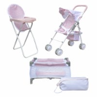 Olivia's Little World 3-in-1 Doll Stroller, Doll High Chair & Cot Set OL-00014 - 1