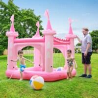 Teamson Kids - Water Fun Castle Inflatable Kiddie Pool with pump Pink TK-48271PC - 1