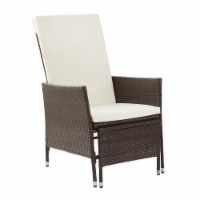 Peaktop Patio Furniture Chair Pull Out Ottoman & Cushions White/Brown PT-OF0023 - 1