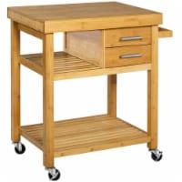 Home Aesthetics Rolling Bamboo Wood Kitchen Island Cart Trolley, w/ Towel Rack Drawer Shelves - 1 each