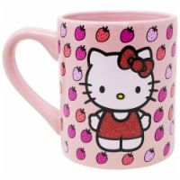 Hello Kitty 802076 Hello Kitty Strawberries Glitter Ceramic Mug - 14 oz