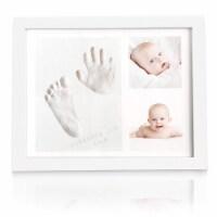 "Baby Handprint Footprint Keepsake Kit (SOLO Frame (11"" x 8.8"", Alpine White)"