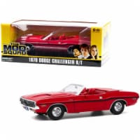 Greenlight 13565 1970 Dodge Challenger R & T Convertible Rallye Red with Red Interior & Black - 1