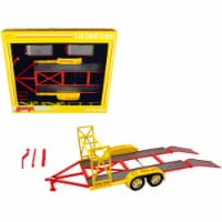 Tandem Car Trailer with Tire Rack \Shell Oil\ Yellow 1/18 Diecast Model by GMP - 1