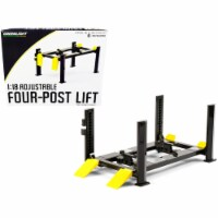 Adjustable Four Post Lift Dark Gray with Yellow Ramps for 1/18 Scale Diecast Model Cars - 1