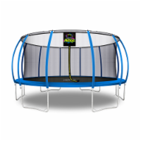 Moxie Pumpkin-Shaped Outdoor Trampoline with Top-Ring Frame Enclosure, 16 FT - Blue