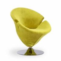 Manhattan Comfort Tulip Green and Polished Chrome Velvet Swivel Accent Chair - 1