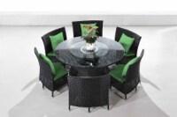 Manhattan Comfort Nightingdale Black 7-Piece Rattan Outdoor Dining Set with Green Cushions - 1
