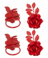 Vibhsa Rose Napkin Rings 8 Pack - Red