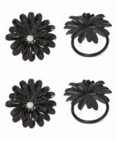 Vibhsa Flower Napkin Rings Set - Black Pearl