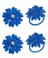 Vibhsa Flower Napkin Rings Set - Blue Pearl
