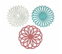 Set of 3 Cast Iron Floral Bloom Kitchen Trivets Decorative Wall Hangings Geometric Patterns - One Size