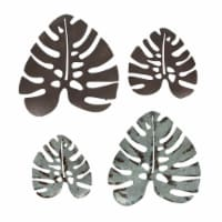 Set of 4 Vintage Look Metal Monstera Leaf Sculptured Wall Hangings Tropical Farmhouse Decor - One Size