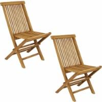 Sunnydaze Hyannis Teak Outdoor Folding Patio Chair with Slat Back - 2 Chairs - 1 unit(s)