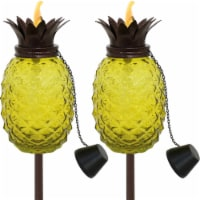 Sunnydaze Tropical Pineapple 3-in-1 Yellow Glass Outdoor Torches - Set of 2
