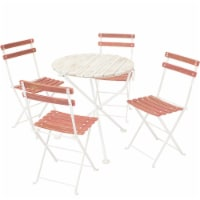 Sunnydaze Classic Cafe 5pc Chestnut Folding Table and Chair Set - Antique Pink - 1 unit(s)