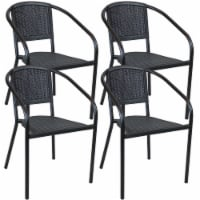 Sunnydaze Aderes Outdoor Arm Chair - Set of 4 - Black Frame, Seat and Back