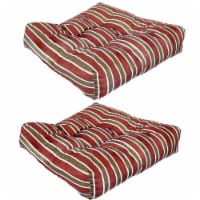 Sunnydaze Set of 2 Tufted Outdoor Seat Cushions - Classic Red Stripe - 1 unit(s)