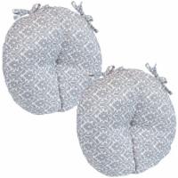 Sunnydaze Polyester Round Patio Seat Cushions - Set of 2 - Gray Damask - 1 unit(s)