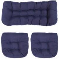 Sunnydaze Tufted Olefin 3-Piece Indoor/Outdoor Settee Cushion Set - Blue