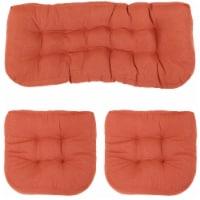 Sunnydaze Tufted Olefin 3-Piece Indoor/Outdoor Settee Cushion Set - Burnt Orange