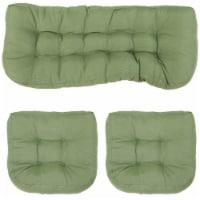 Sunnydaze Tufted Olefin 3-Piece Indoor/Outdoor Settee Cushion Set - Green - 1 unit(s)