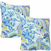 Sunnydaze 2 Outdoor Decorative Throw Pillows - 17 x 17-Inch - Aqua Paisley
